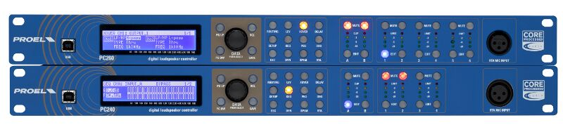 2 inputs/6 outputs Sharc based digital signal processor, RTA, SPLM, PRONET remote control.