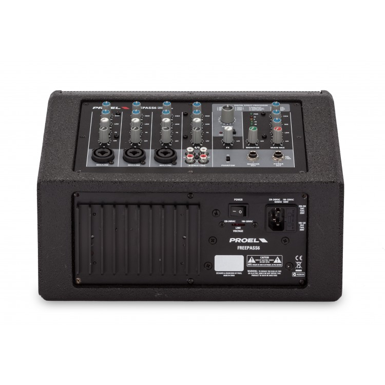 6.5/1tweeter 75W powered monitor - 3 mic/line inputs 1 stereo input - digital effects