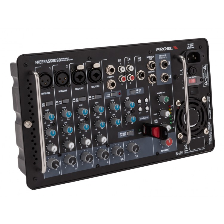 Portable P.A. 2x250W - 4 mono 2 stereo inputs - usb player - 2x 250w - 2 st 8 luidsprekers