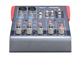 Uitlopend - Proel Mixer 2mic/Line. 2st. Line inputs. 2track out. Bal.Main mix out. Phantom power.