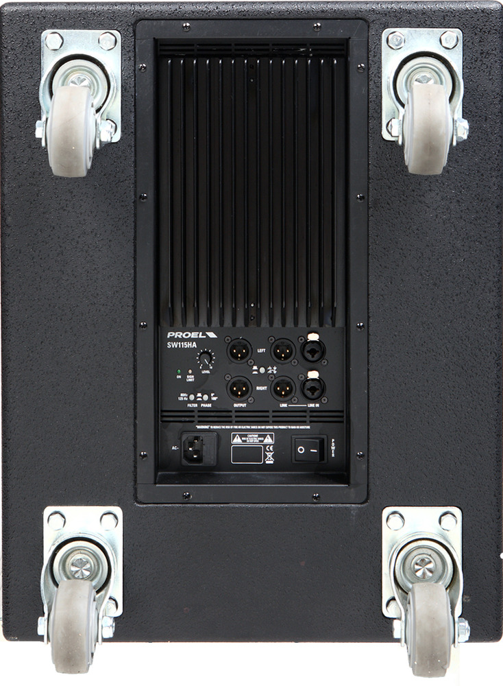 PROEL 15 ACTIVE SUB.500W.BPS enclosure series load. Bass reflex 24 DB Stereo Crossover